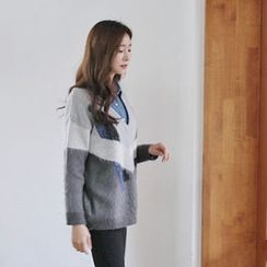 Hello sweety - V-Neck Color-Block Sweater
