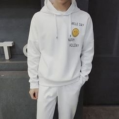 Danjieshi - Set: Smiley Print Hoodie + Sweatpants