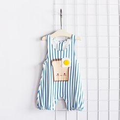 MOM Kiss - Baby Bread Print Striped Pinafore Jumpsuit