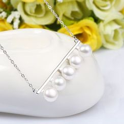 Zundiao - Sterling Silver Real Pearl Bar Necklace