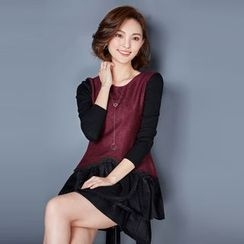 AiSun - Panel Long-Sleeve A-line Knit Dress