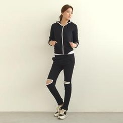 SO Central - Set: Contrast Trim Hoodie + Open Knee Sweatpants