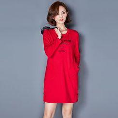 AiSun - Letter Long-Sleeve T-shirt Dress