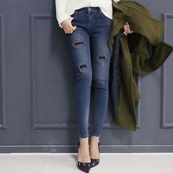 DANI LOVE - Distressed Brushed-Fleece Lined Skinny Jeans