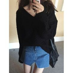 maybe-baby - V-Neck Cable-Knit Top