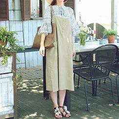 Champi - 饰钮扣背带连衣中长裙