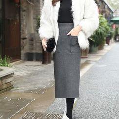 Loverac - Woolen Slit Midi Skirt