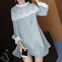 Fashion Street - Frill Neck Lace Trim Long Sleeve Mini Dress