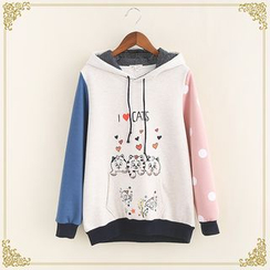 Fairyland - Animal Print Color Panel Hoodie