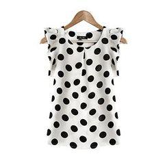 Fashion Street - Polka Dot Frilled Cap-Sleeve Top