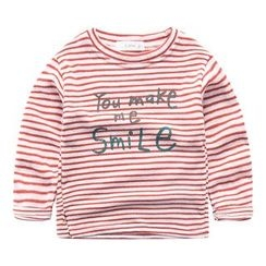 DEARIE - Kids Lettering Striped Long-Sleeve T-Shirt