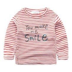 DEARIE - 兒童印字條紋長袖T恤