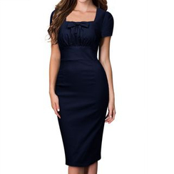 Forest Of Darama - Bow Cap-Sleeve Sheath Dress
