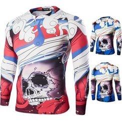 Blueforce - Skull Print Long-Sleeve T-Shirt