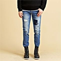 THE COVER - Distressed Washed Skinny Jeans