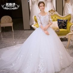 MSSBridal - Elbow Sleeve Wedding Ball Gown with Train