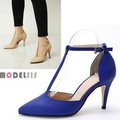 MODELSIS - Genuine Leather T-Strap Pumps