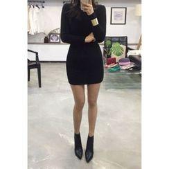 OZNARA - Monk-Neck Knit Mini Dress