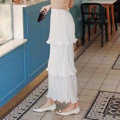 Cherryville - Polka-Dot Tiered Maxi Skirt