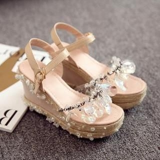 JY Shoes - Gemstone Ankle Strap Espadrille Wedge Sandals