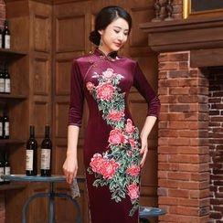 Montebelle - 碎花印花七分袖长旗袍