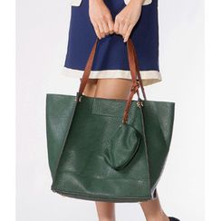 59 Seconds - Faux Leather Tote with Pouch