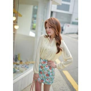 Bongjashop - Mandarin Collar Pleated Chiffon Blouse