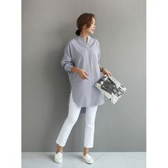 STYLEBYYAM - Open-Placket Stripe Long Shirt