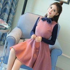 Mandalle - Tie-Neck Color Block A-Line Dress