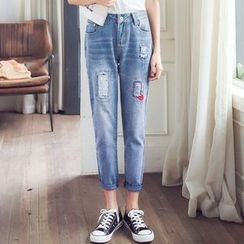 Mandalle - Distressed Straight-Cut Jeans