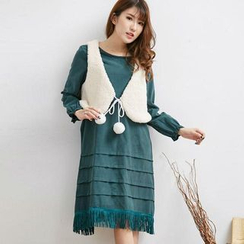 Blue Hat - Set: Fringed Long-Sleeve Dress + Fleece Vest