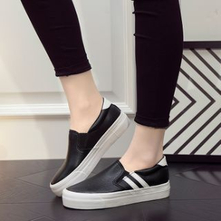 EUNICE - Faux-Leather Striped Slip-Ons