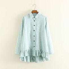 Mushi - Frilled Hem Striped Dip Back Shirt