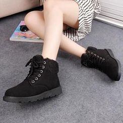 Solejoy - Fleece-Trim Lace-Up Ankle Boots