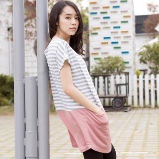 CatWorld - Chiffon-Hem Striped Dress