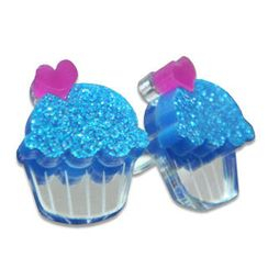 Sweet & Co. - Sweet Glitter Blue Mirror Cupcake Stud Earrings