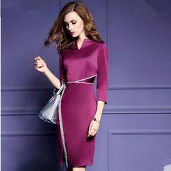 la nuit - 3/4-Sleeve Slit Sheath Dress