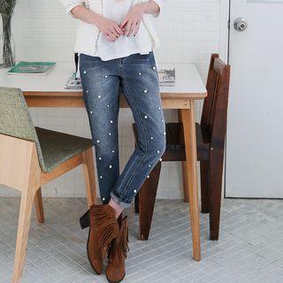 OrangeBear - Pearled Washed Boyfriend Jeans