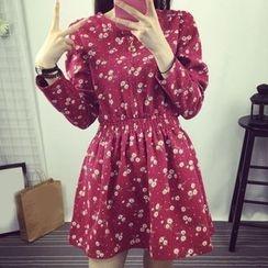 Bloombloom - Floral Print Long Sleeve Mini Dress