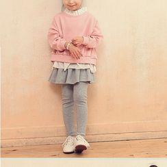 Princess House - Kids Set: Mock Two-Piece Sweatshirt + Leggings Inset A-Line Skirt