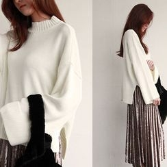 NIPONJJUYA - Wide-Sleeve Loose-Fit Knit Top