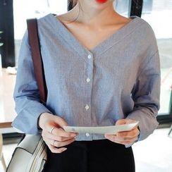 KAKAGA - Long-Sleeve Striped V-Neck Shirt