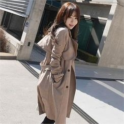 LIPHOP - Capelet Double-Breasted Trench Coat