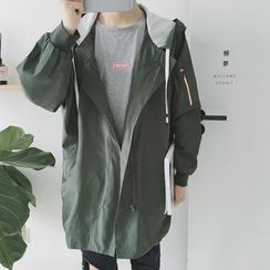 qiaqiayes - Hooded Long Trench Jacket
