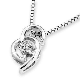 MaBelle - 18K White Gold Double Heart Diamond Solitaire Pendant (1/10 cttw) (FREE 925 Silver Box Chain)