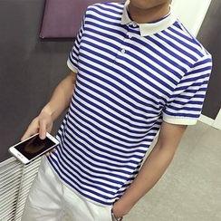 Jazzcool - Stripe Short-Sleeve Polo Shirt