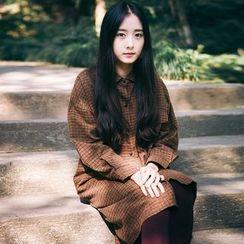 YARU - Long-Sleeve Plaid Shirtdress
