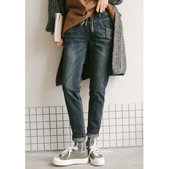 GOROKE - Drawstring-Waist Brushed-Fleece Lined Tapered Jeans