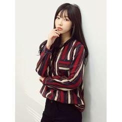 LOLOten - Mandarin-Collar Stripe Shirt