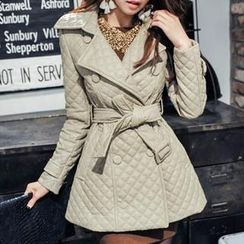 vivaruby - Quilted Faux-Leather Trench Coat